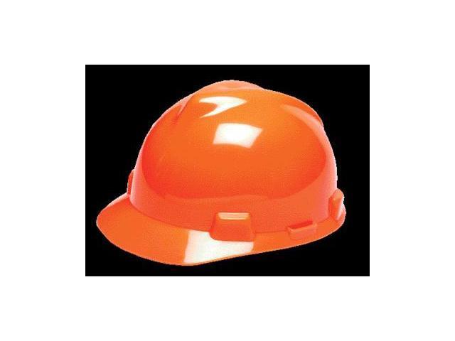 MSA Hi-Viz Orange V-Gard Class E, G Type I Polyethylene Standard Slotted Hard...