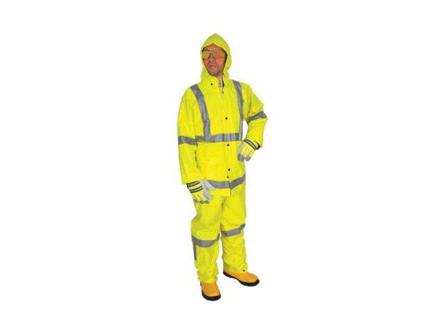 River City Rainwear Medium Fluorescent Lime Luminator .38 Mm Pvc And Polyeste...