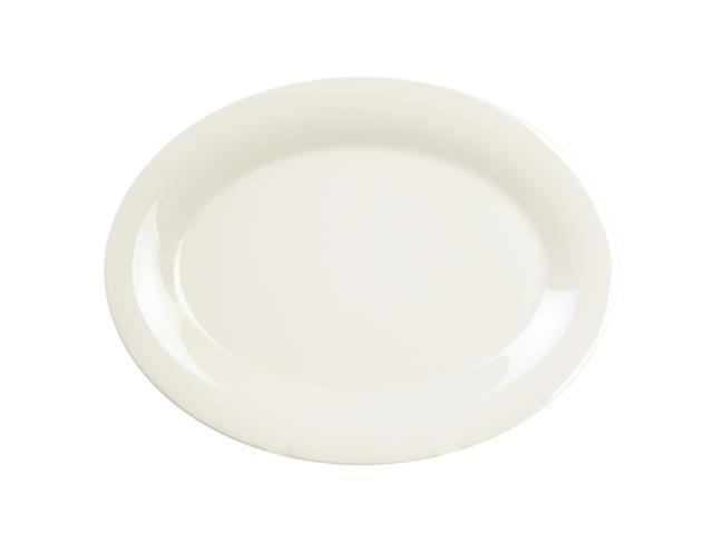 Excellante Ivory Melamine Collection 9-1/2 by 7-1/4-Inch Oval Platter, Ivory - Dozen