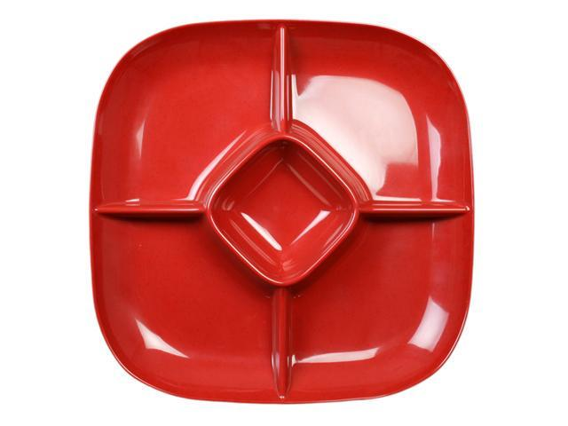 Excellanté Royal Red Collection 15 by 15-Inch Chip And Dip Platter, 1-3/4-Inch Deep, Royal Red - Each