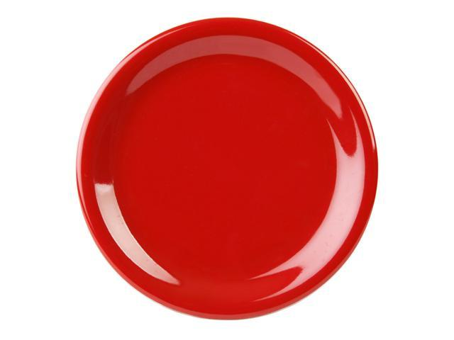 Excellante Crimson Melamine Collection 7-1/4-Inch Narrow Rim Round Plate, Pure Red - Dozen