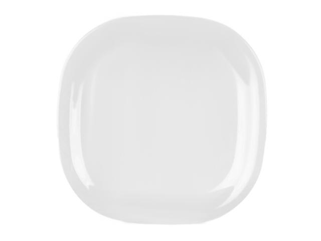 Excellanté Royal White Collection 14 by 14-Inch Round Square Plate, Royal White - Each