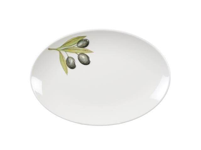Excellante Sage Melamine Collection 11 by 8-1/4-Inch Oval Platter Heavy Weight, Embossed Olive - Each