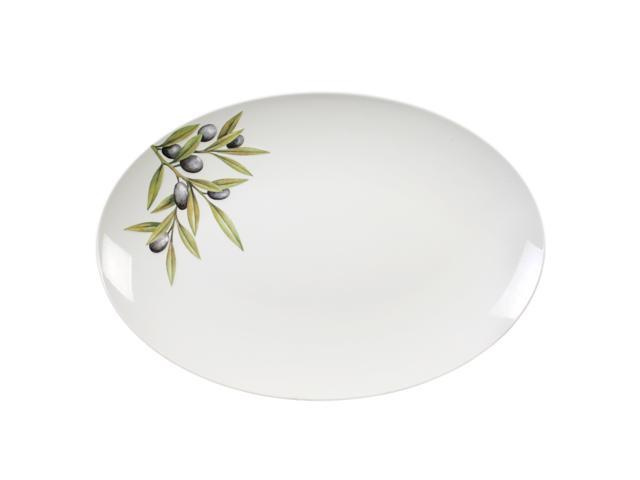 Excellante Sage Melamine Collection 18-1/2 by 11.625-Inch Oval Platter Heavy Weight, Embossed Olive - Each
