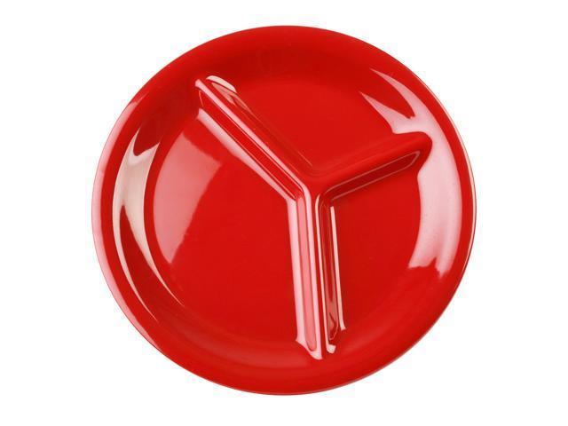 Excellante Crimson Melamine Collection 10-1/4-Inch Three Compartment Plate, Pure Red - Dozen