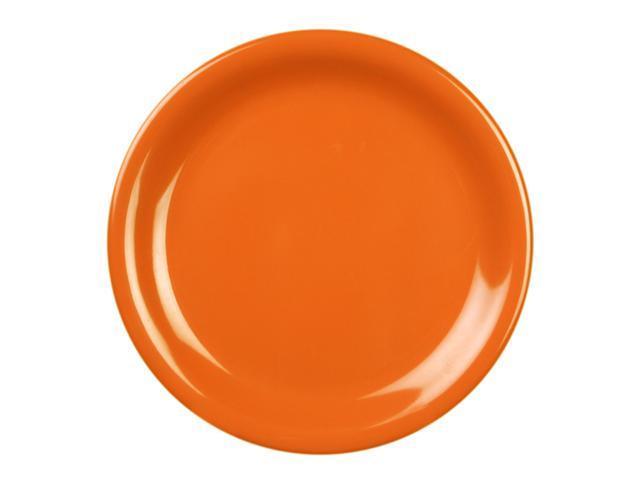 Excellante Adobe Melamine Collection 9-Inch Narrow Rim Round Plate, Orangish Red - Dozen