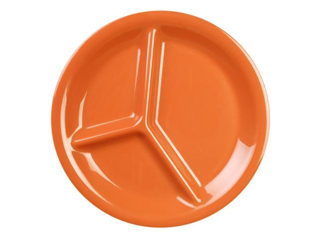 Excellante Adobe Melamine Collection 10-1/4-Inch Three Compartment Plate, Orangish Red - Dozen