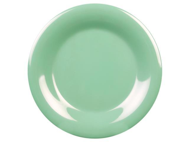 Excellante Green Melamine Collection 6-1/2-Inch Wide Rim Round Plate, Green - Dozen