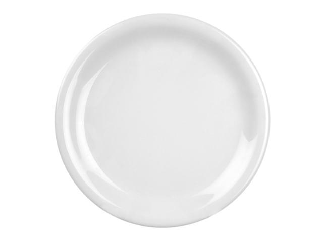 Excellante White Melamine Collection 6 -1/2-Inch Narrow Rim Round Plate, White - Dozen