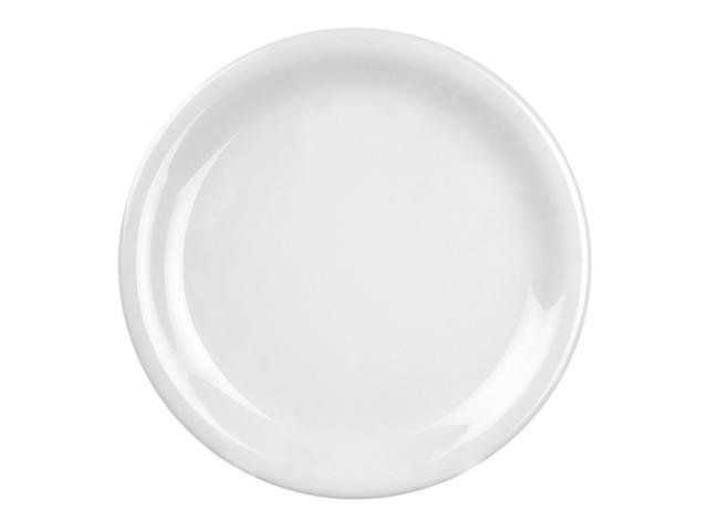 Excellante White Melamine Collection 10-1/2-Inch Narrow Rim Round Plate, White - Dozen