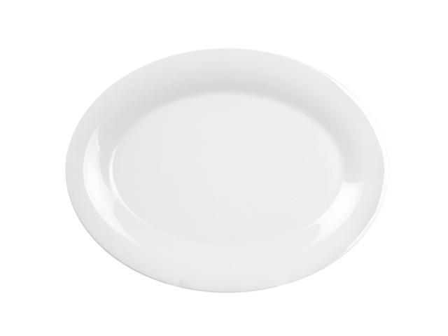 Excellante White Melamine Collection 9-1/2 by 7-1/4-Inch Oval Platter, White - Dozen