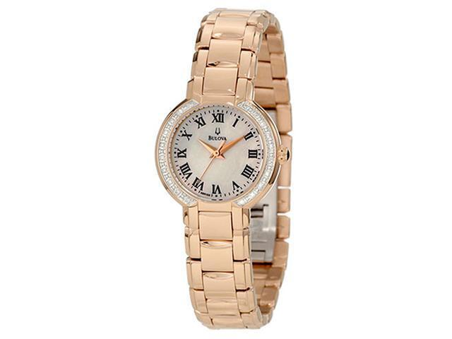 Bulova White Mother of Pearl Dial Stainless Steel Bracelet Ladies Watch 98R156