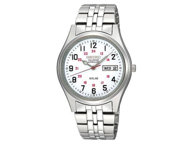 Seiko Solar White Dial Mens Watch SNE045