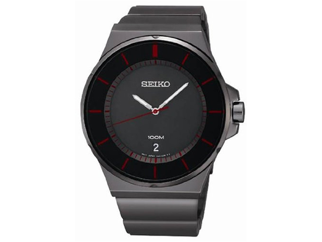 Seiko SGEG25 Stainless Steel Case and Bracelet Black Tone Dial Date Display