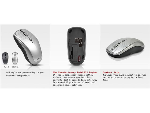 A4-Tech G9-530HX 2000 DPI Patented Hole-Less Engine Ultra-High Definition Wireless Mouse