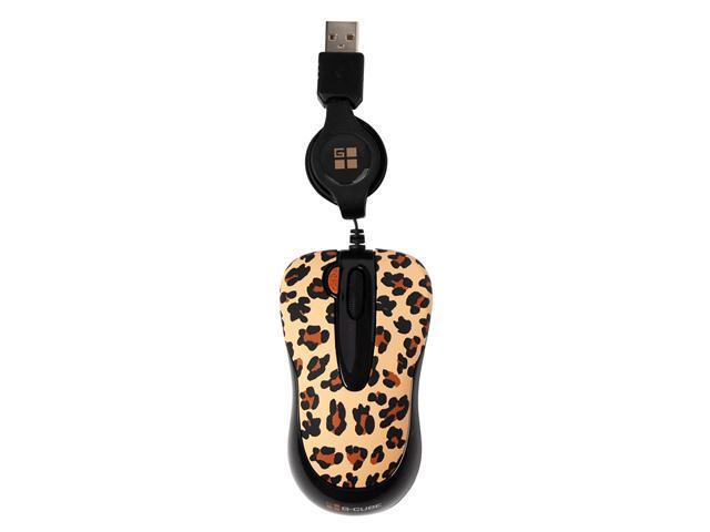 G-Cube GOL-60B 800 dpi Double-Click Button Retractable Mini Optical USB Wired Mouse (Lux Leopard) with Travel Pouch for Both PC Windows XP/2000/Vista and Mac 10.x