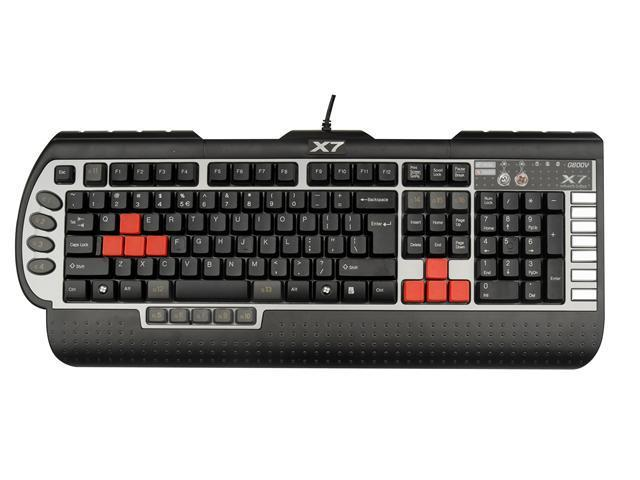 A4Tech G800V Anti-Ghosting 8-Key Rollover USB PC Gaming Keyboard with Wide Palm Rest
