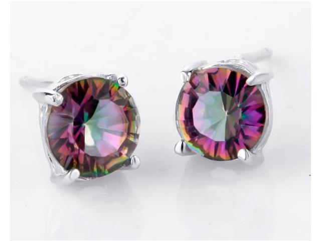Mabella 1.5 cctw Womens .925 Sterling Silver Round Cut 6mm Genuine Natural Mystic Topaz Earring Studs