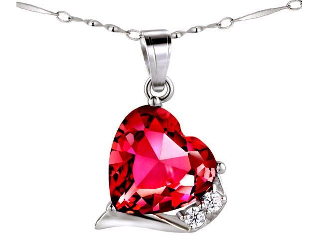"Mabella Fashion PWS015CR 6.06 CTW Heart Shaped 12mm x 12mm Created Ruby Pendant - Sterling Silver with 18"" Chain"