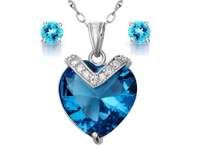 Mabella Fashion PWS006PECT .925 Sterling Silver 10.84 cttw Created Heart Cut Blue Topaz Pendant and Earring Set