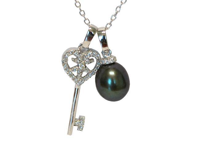 "8-8.5mm Peacock Freshwater Pearl with .925 Sterling Silver Key Pendant on 18"" Chain"