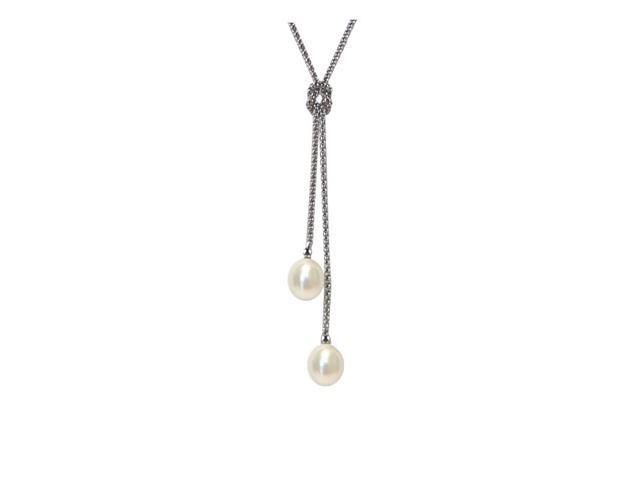 "8-9mm Freshwater White Pearl x 2 pcs .925 Sterling Silver Pendant with 18"" Chain"