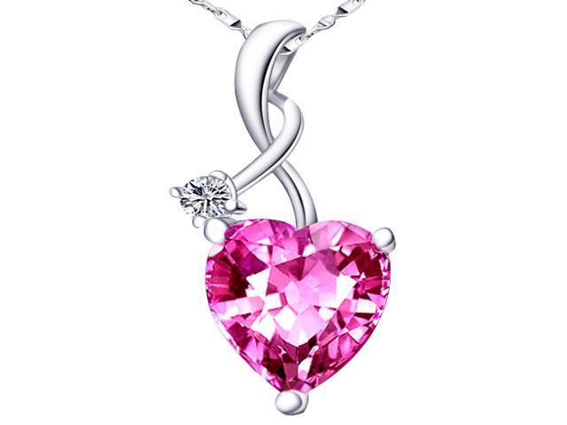 "Mabella 4.03 cttw Heart Shaped Created Pink Sapphire Sterling Silver Pendant with 18"" Chain"