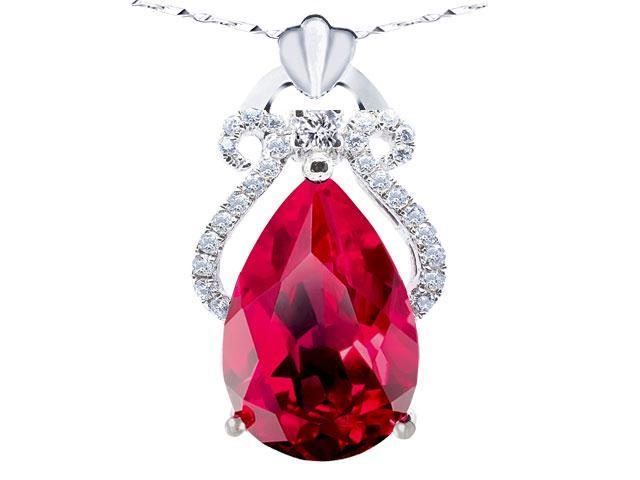 Mabella 6.15 cttw Pear Cut 10mm x 15mm Created Ruby Sterling Silver  Pendant with 18