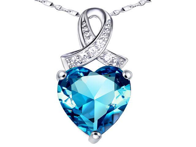 Mabella PWS001CT 6.06 cttw Heart Shaped 12mm x 12mm Created Blue Topaz in Sterling Silver Pendant w/ 18