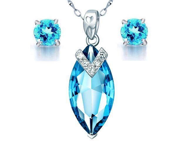 Mabella 7.96 cttw Marquise Cut 20mm x 10mm Created Topaz Sterling Silver Pendant & Earring Jewelry Set