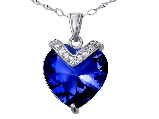 Mabella PWS006CBS 10.84 cttw Heart Shaped 15mm Created Blue Sapphire Pendant in Sterling Silver with 18