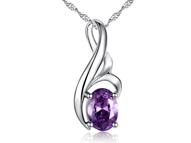 Mabella 0.75 Cttw Oval Cut 7mm x 5mm Created Amethyst Pendant Sterling Silver with 18