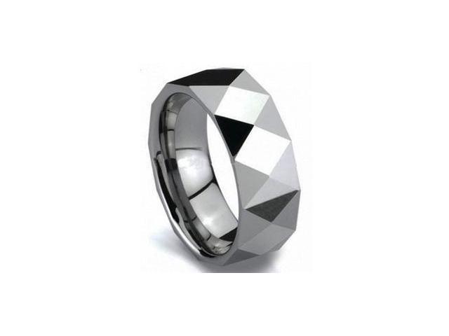 Mens 8mm Razor Tungsten Carbide Wedding Ring Band