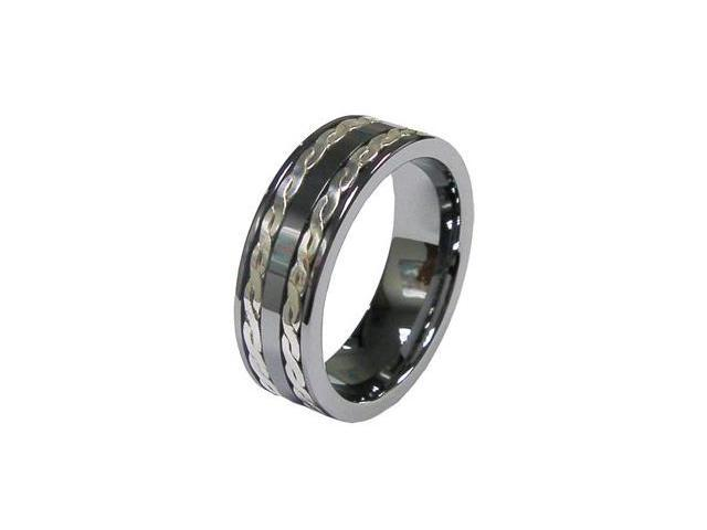 Tungsten Carbide Mens Wedding Band Ring w/ Two Silver Stripes Inlay
