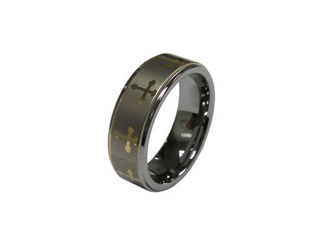 Men Popular Gold Tone Cross Symbol 8mm Tungsten Carbide Ring