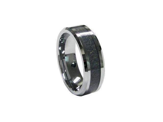 Mabella Fashion 8mm Men's Tungsten Carbide Carbon Fiber Inlay Ring Wedding Band Ring
