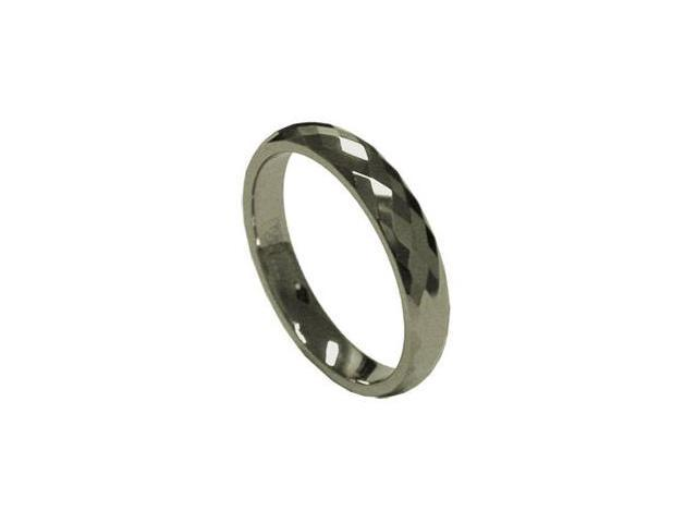 Popular 4mm Women's Tungsten Carbide Faceted Wedding Band Ring