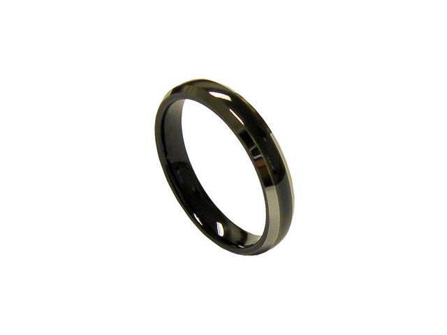 Lovely 4mm Womens Black Tungsten Wedding Band Ring