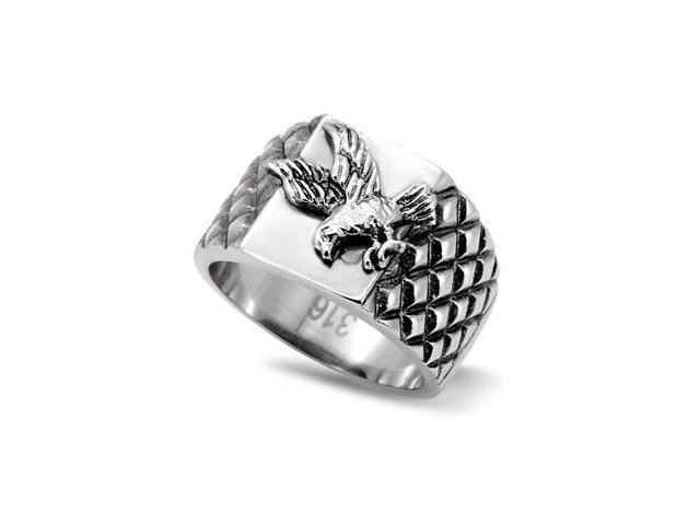 Comfort Fit Mens 361L Stainless Steel Soaring Eagle Ring