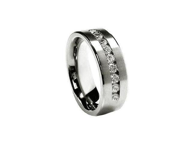 Nine CZ Stainless Steel 8mm Mens Wedding Bands Ring