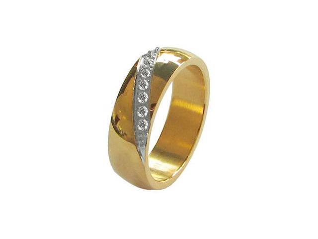 Seven CZ Gold Tone Stainless Steel 8mm Mens Wedding Bands Ring