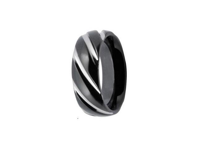 Stripe Texture Stainless Steel 8mm Mens Wedding Bands Ring