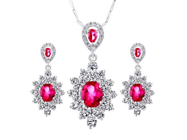 "A set of 12.51 Cttw Created Ruby Pendent & Earrings Sterling Silver with 18"" Chain"