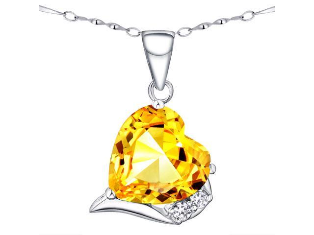 Mabella Fashion PWS015CCTN 6.06 CTTW 12mm Heart Shaped Created Citrine Sterling Silver Pendant with 18