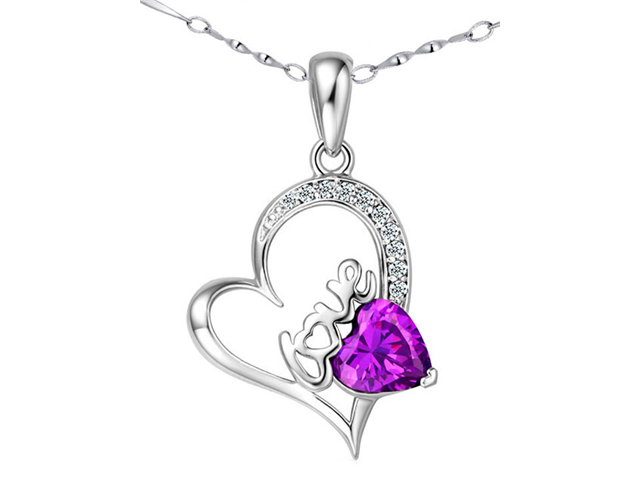 Mabella 1.54 ct.tw Heart Cut 7mm Created Amethyst Pendant Sterling Silver with 18
