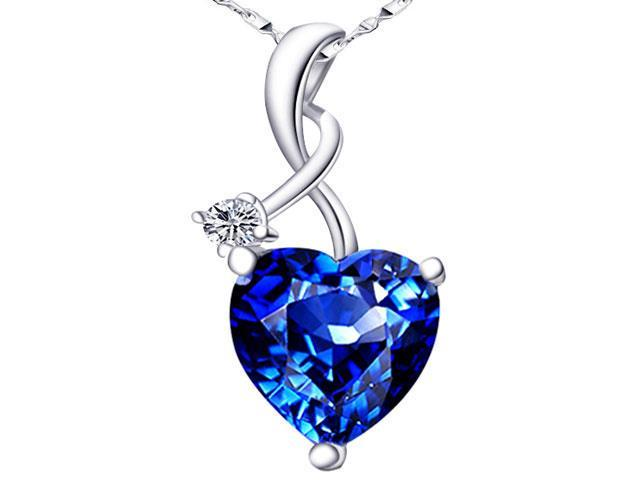 Mabella 4.03 CTW Heart Shaped Created Blue Sapphire Sterling Silver  Pendant with 18
