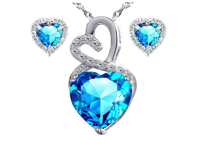 Mabella Eternity Heart Cut Created Blue Topez Pendant & Earring Set - Sterling Silver, 18