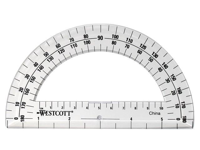 Westcott 6 Inch Plastic 180 Degree Protractor Clear