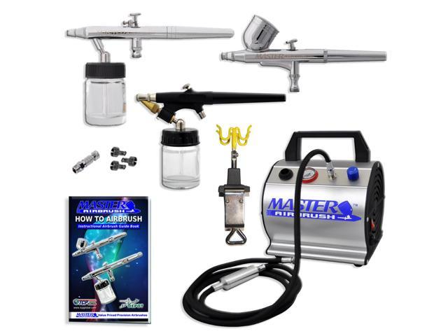 New Pro Master 3 AIRBRUSH Super Deluxe Airbrushing System Kit Set Air Compressor