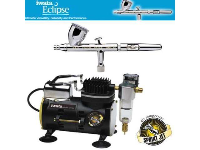 IWATA Eclipse HP-CS AIRBRUSH Sprint Jet AIR COMPRESSOR Hobby Tattoo Cake Paint